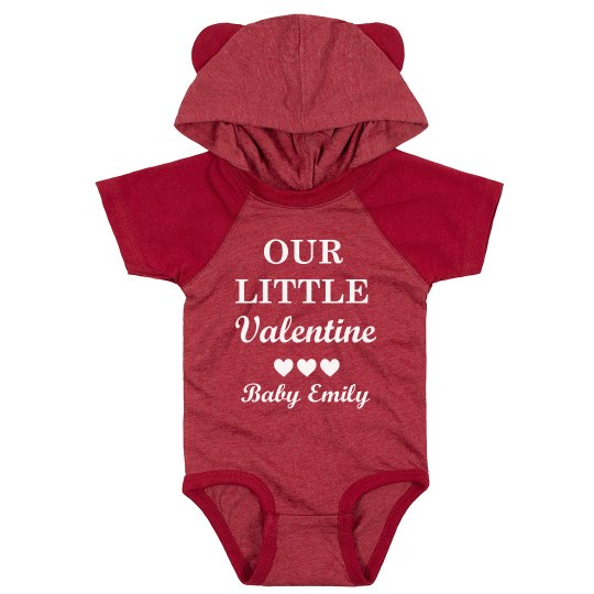 Our Little Valentine Custom Baby Hooded Bodysuit