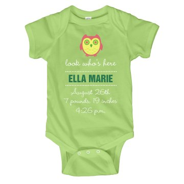 Owl Custom Birth Tee