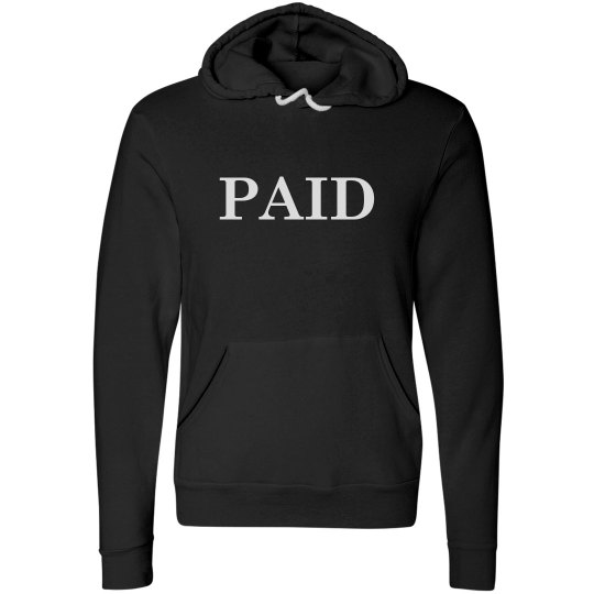 PAID -BLACK HOODY W/ RED BOTTOMS LOGO