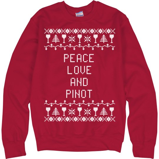 """Peace, love and pinot """"ugly Christmas sweater"""