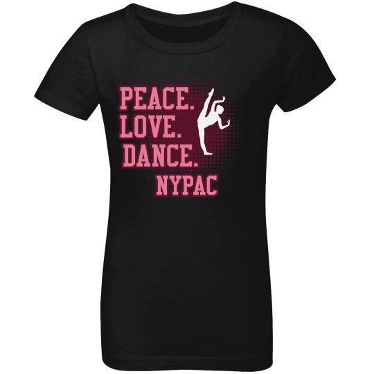 peace love dance youth tshirt