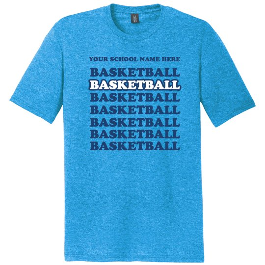 Personalized School Name, Colors Basketball Tee