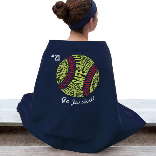 Personalized Softball Blanket Gildan Dryblend Stadium Blanket
