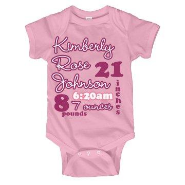 Pink Baby Info Onesie