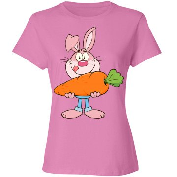 Pink Bunny Holding Huge Carrot