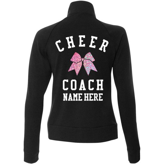 Pink Glitter Custom Cheer Coach Jacket
