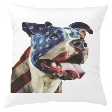 Pit Bull Dog with American Flag Pillow Cover