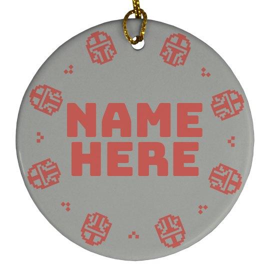 Pixel Custom Name Mandalorian Ornament