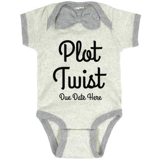 Plot Twist Baby Announcement Custom Bowtie Bodysuit