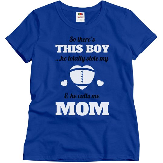 Plus Size Football Mom Heart Tee