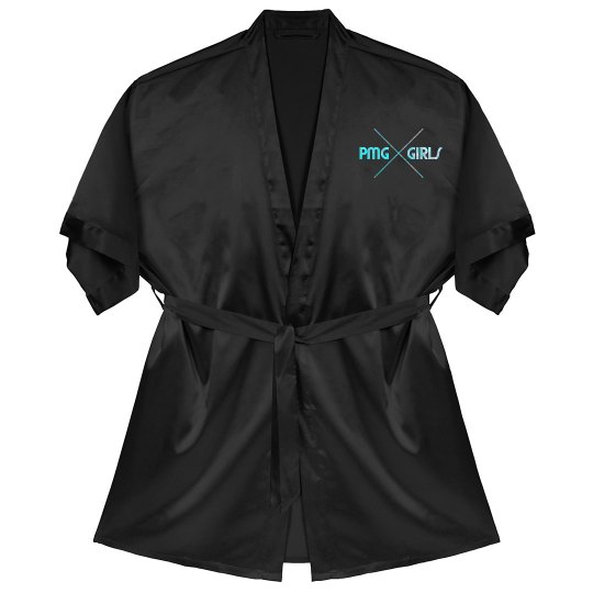 "PMG GIRLS ""ARCADIA BLACK"" SATIN ROBE"
