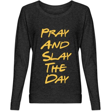 Pray and Slay Dark Grey Slouchy Shirt
