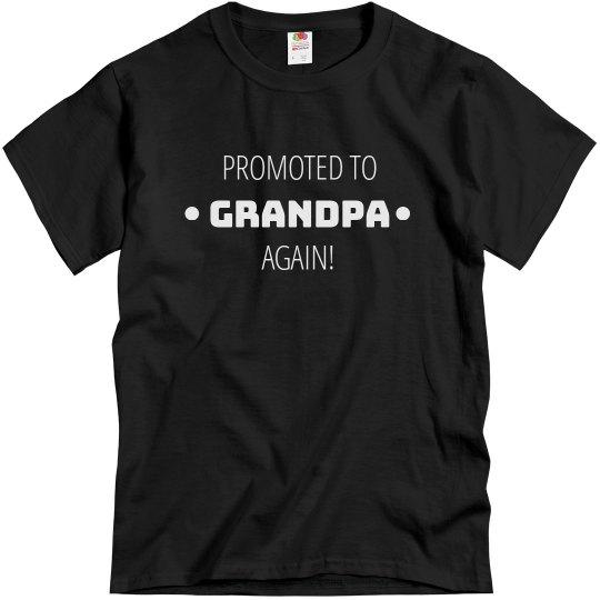 Promoted Again Grandpa Custom Name Tee