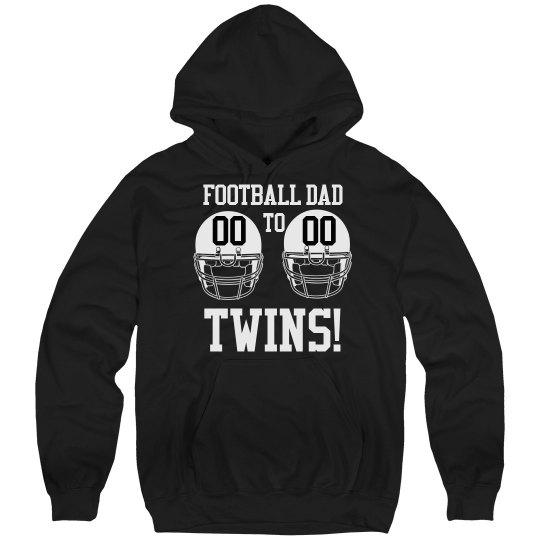 Proud Football Dad to Football Twins Custom Fleece Hood