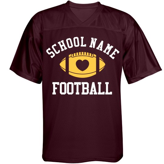 Proud Football Mom Jersey in School Colors