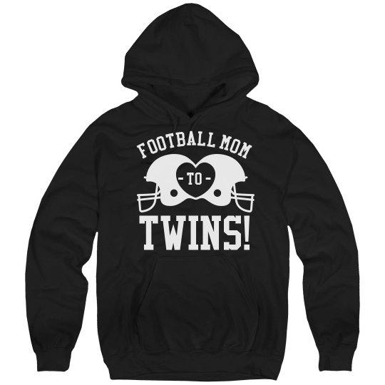 Proud Football Mom to Football Twins Custom Fleece Hood