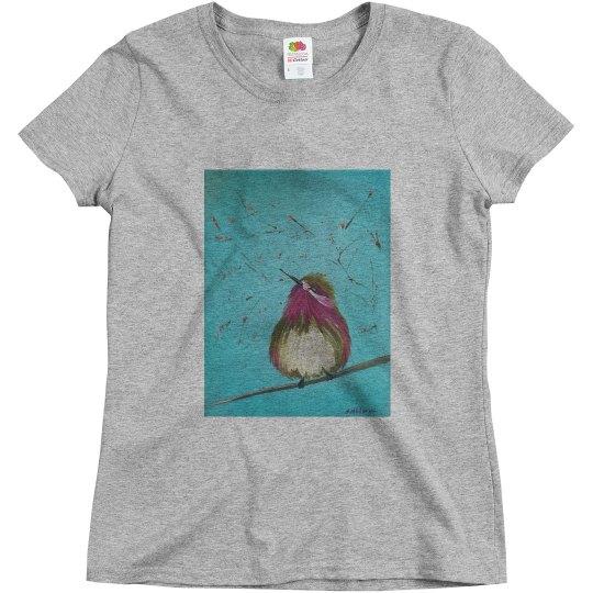 Purple bird teal background (t-shirt)