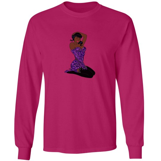 purple sequins black pin up girl