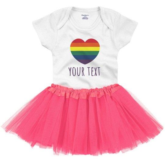 Rainbow Heart Custom Text Tutu