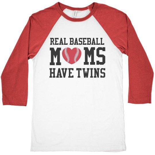 Real Baseball Moms Have Twins Custom Team Colors Shirt