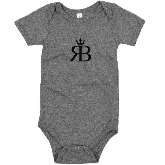 RED BOTTOMS BABY ONESIE- BLK LOGO PRINT
