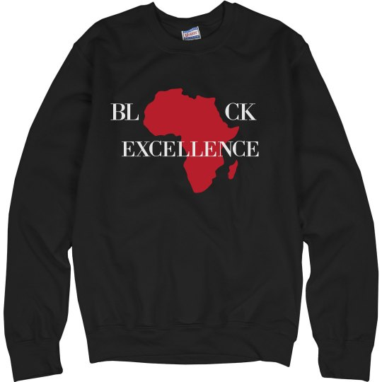 Red Bottoms -Black Excellence Sweatshirt-Red Logo