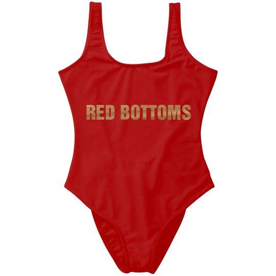 Red Bottoms Metallic Bathing Suit