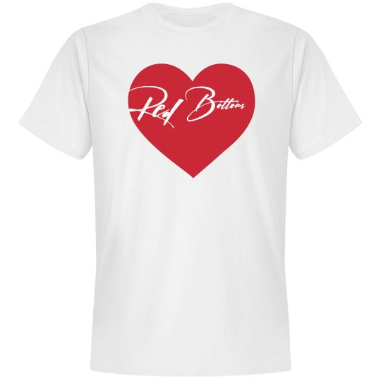 RED BOTTOMS VDAY TEE- WHITE AND RED HEART