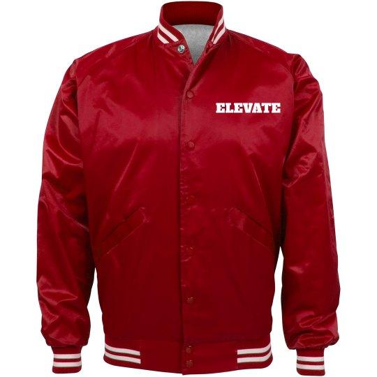 RED ELEVATE BOMBER JACKET