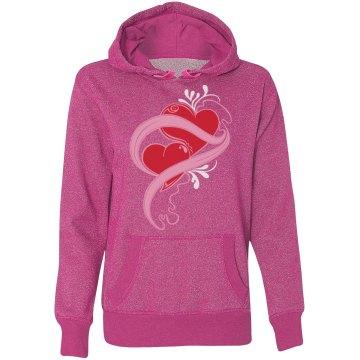Red Hearts Pink Swirls