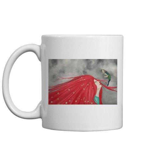 Red long hair girl with bird mug