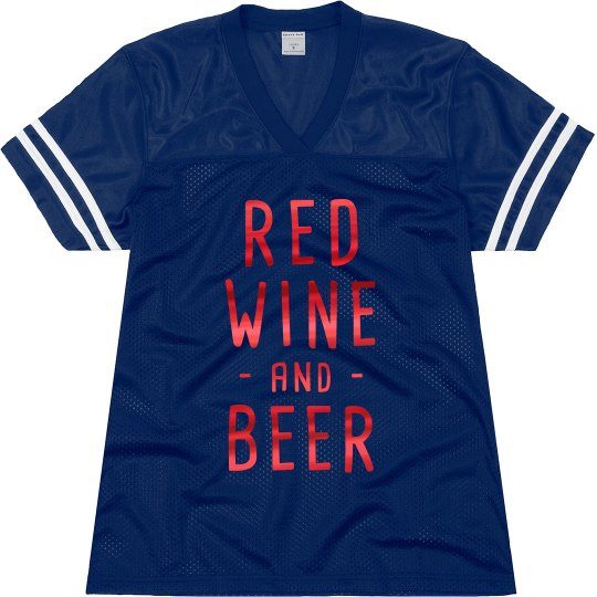 Red Metallic Red Wine Beer Football Jersey