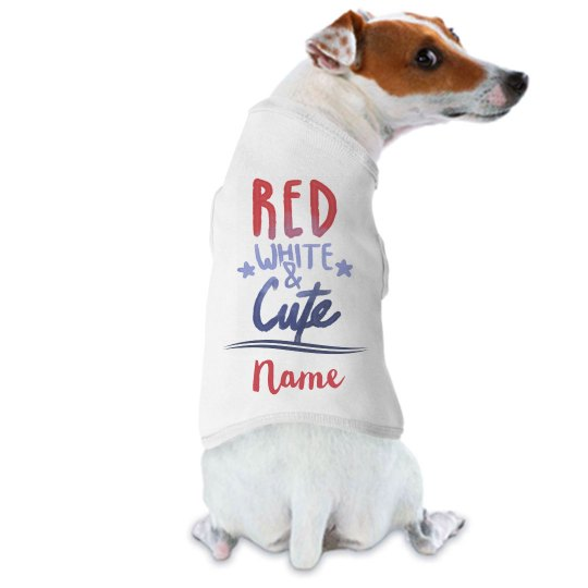 Red, White, & Cute Custom Name Pup