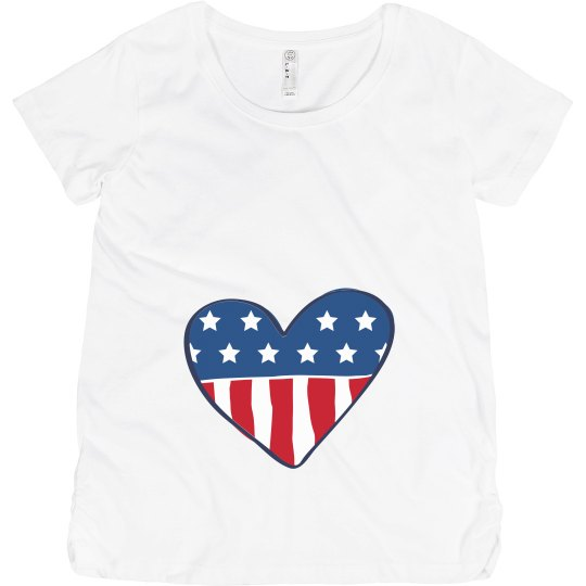 Red, White, & Due American Heart Maternity Tee