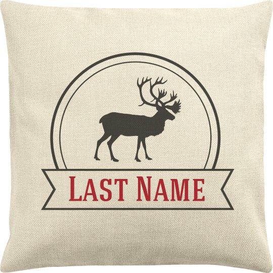 Reindeer Last Name Custom Family Pillow