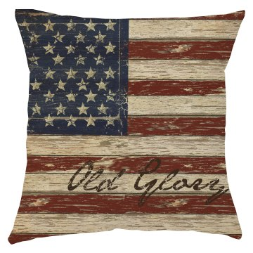 Rustic 4th of July Old Glory pillow cover