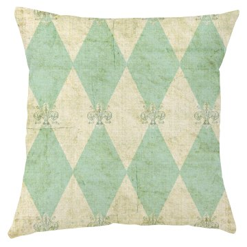 Rustic french green and white pillow cover