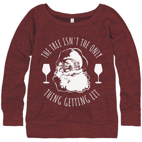 Santa Get Lit Wine Ugly Sweater