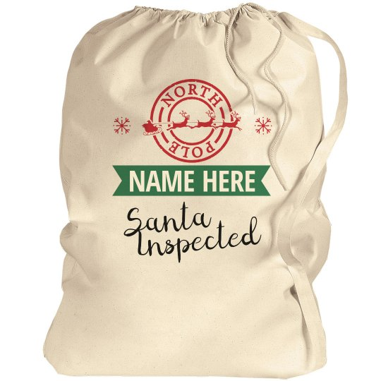 Santa Inpected Custom Gift Bag