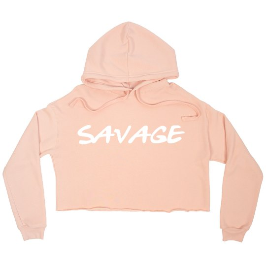 """Savage"" Crop Sweatshirt (Peach)"