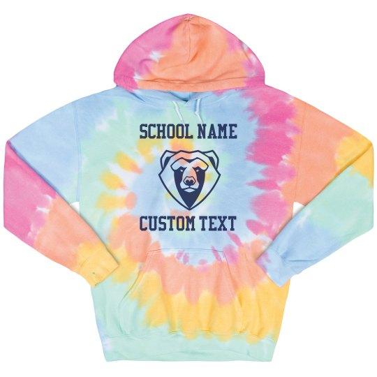 School Mascot Tie-Dye Hoodie