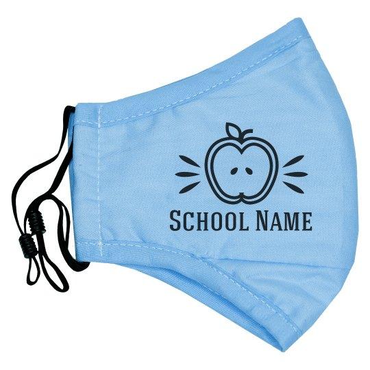 School Name Custom Teacher's Apple Mask
