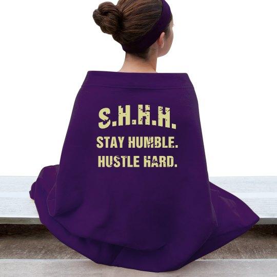 SHHH! STAY HUMBLE HUSTLE HARD YELLOW TEXT BLANKET