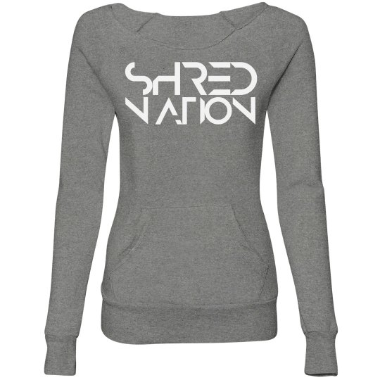 SHRED NATION Wideneck Sweatshirt (Gray + White)