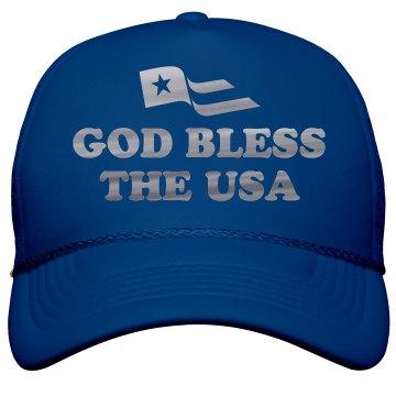Silver Metallic God Bless The USA