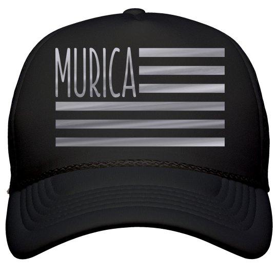 Silver Metallic Murica Flag July 4