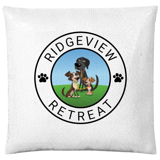 Silver Pillow and White Logo