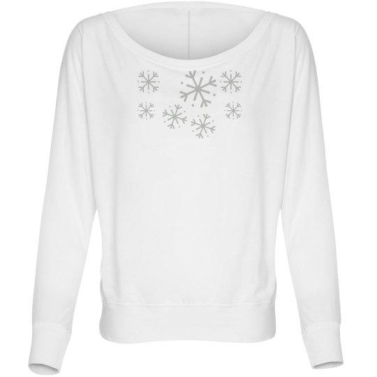 Silver Snowflakes ladies Longsleeve
