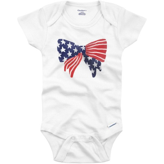 Simple Bow Fourth of July Onesie