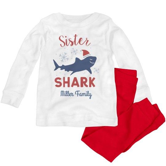 Sister Shark Matching Custom Family Christmas Pajamas